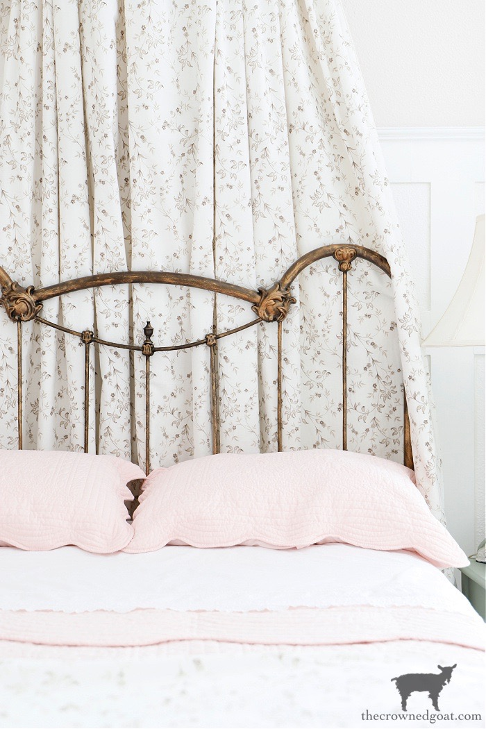 Antique Metal Bed-Bedroom Makeover Reveal-The Crowned Goat