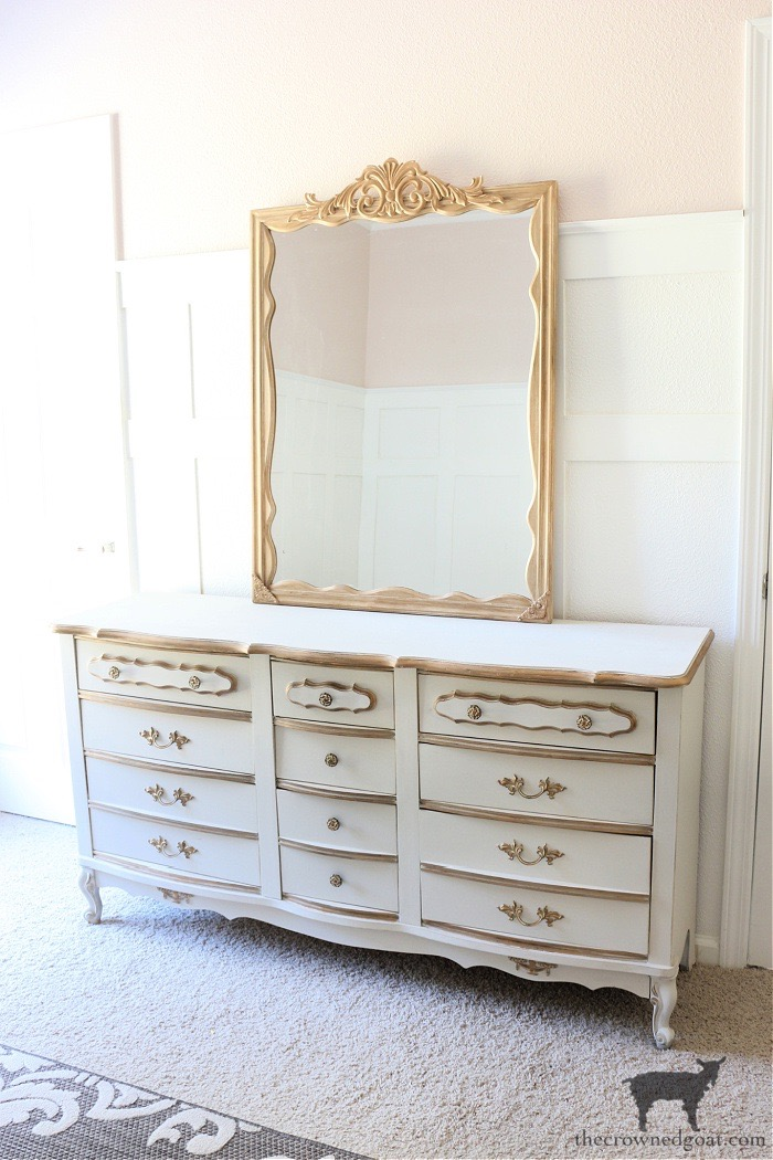 DIY Anthropologie Inspired Mirror on French Country Dresser - The Crowned Goat