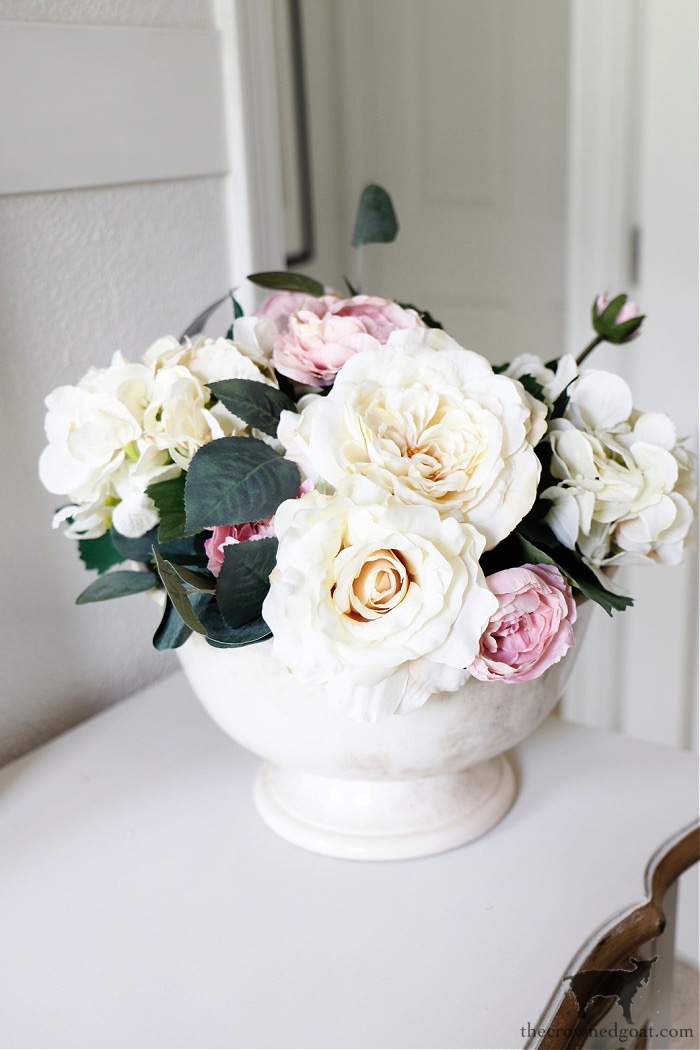 Floral Arrangement With Pink and Cream Colored Roses-The Crowned Goat