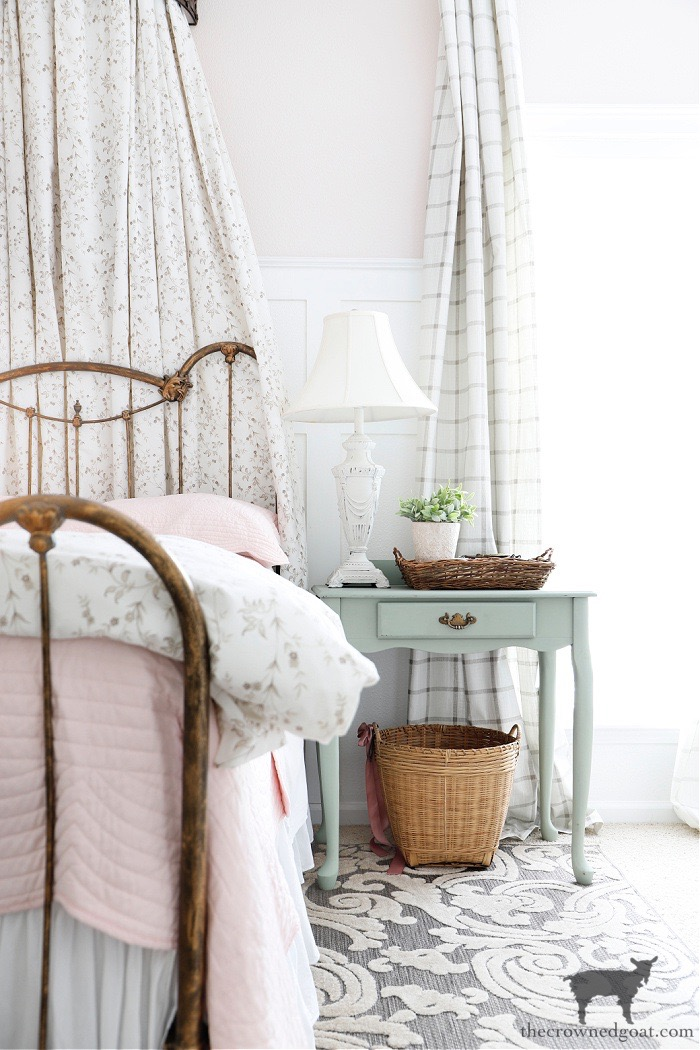 Cottage Inspired Guest Bedroom with Blush Pink Bedroom for Adults-One Room Challenge Makeover Reveal-The Crowned Goat