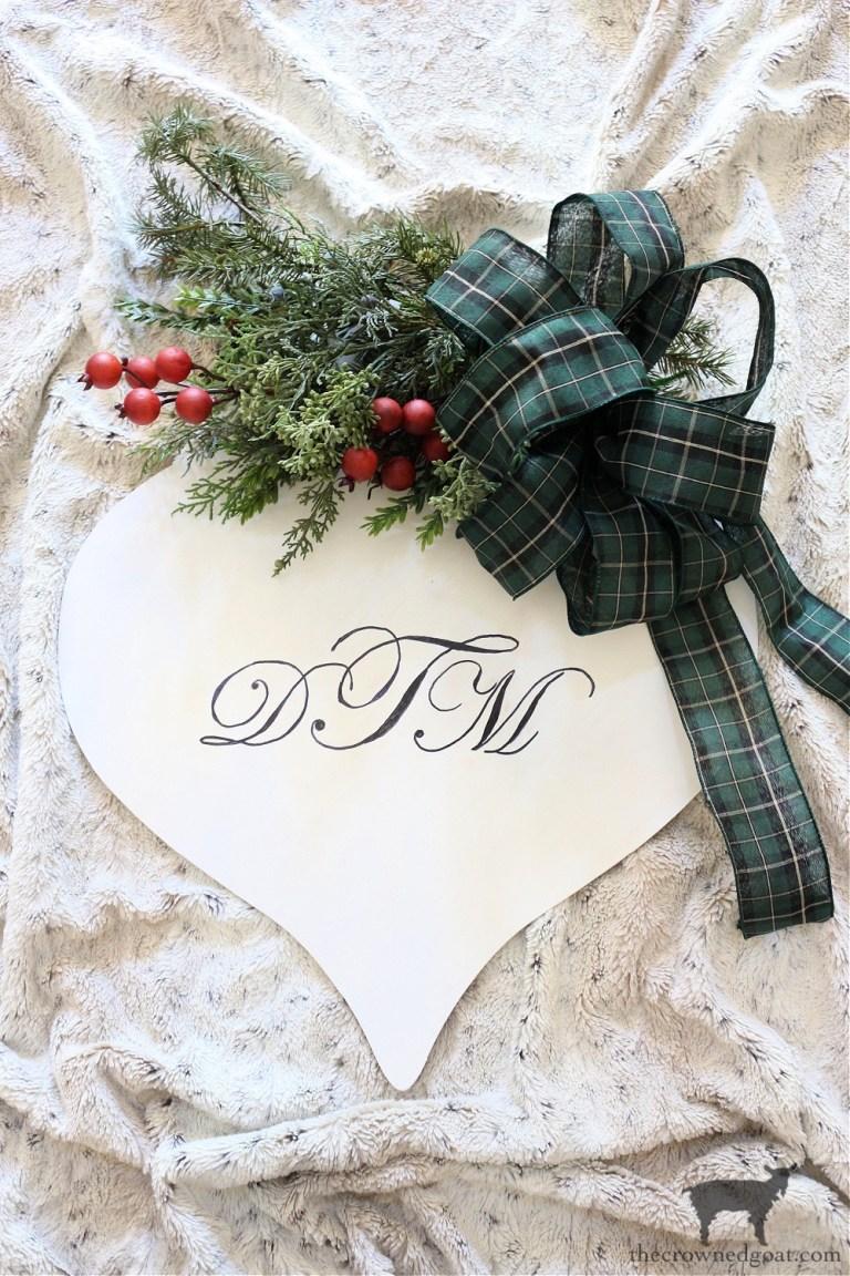 Monogrammed Christmas Door Ornament