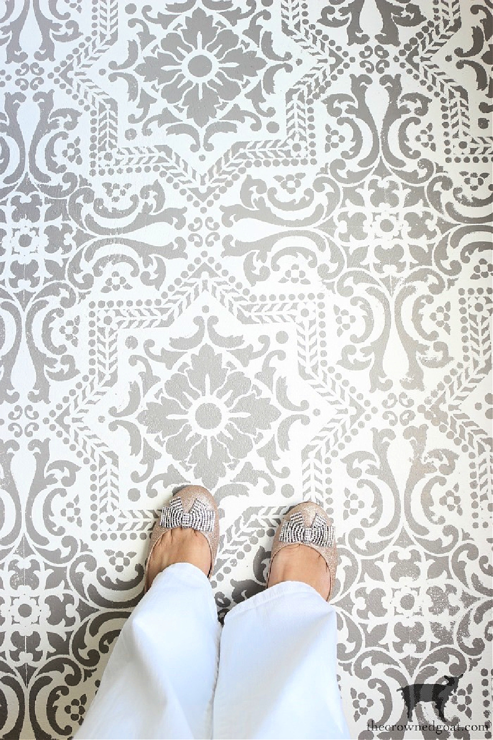 Journeys End Home Tour-Stenciled Concrete Floors-The Crowned Goat