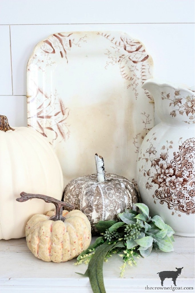 Early Fall Craft and Decorating Ideas-DIY Brown and White Transferware Pumpkins-The Crowned Goat