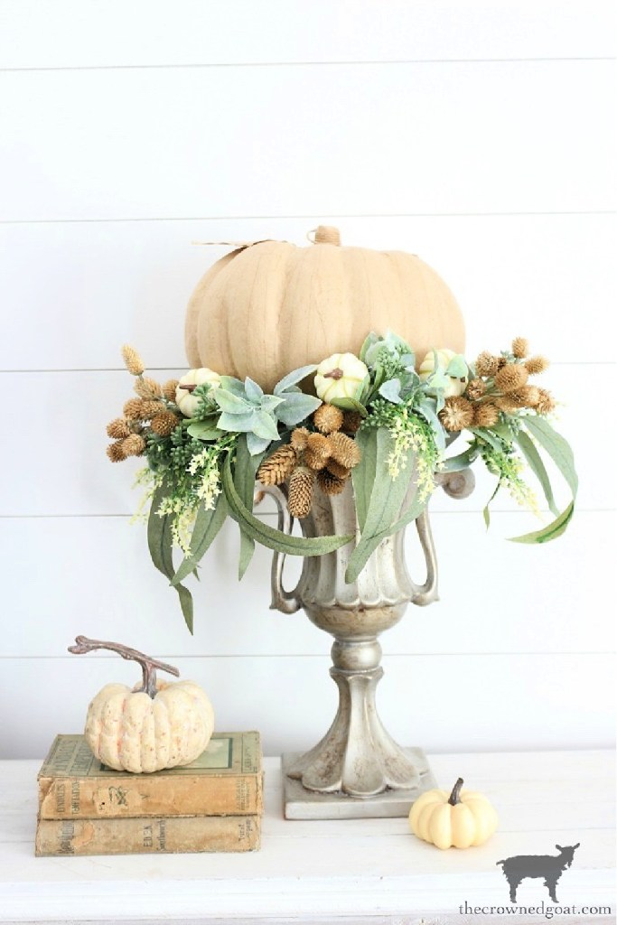 Early Fall Craft and Decorating Ideas-DIY Fall Centerpiece-The Crowned Goat
