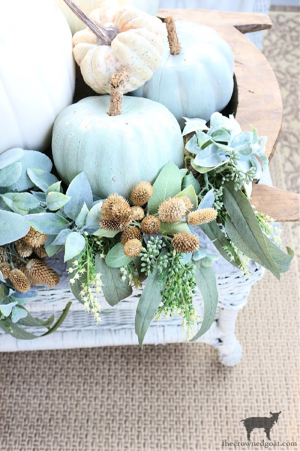 Decorating a Fall Porch with DIY Heirloom Pumpkins-The Crowned Goat