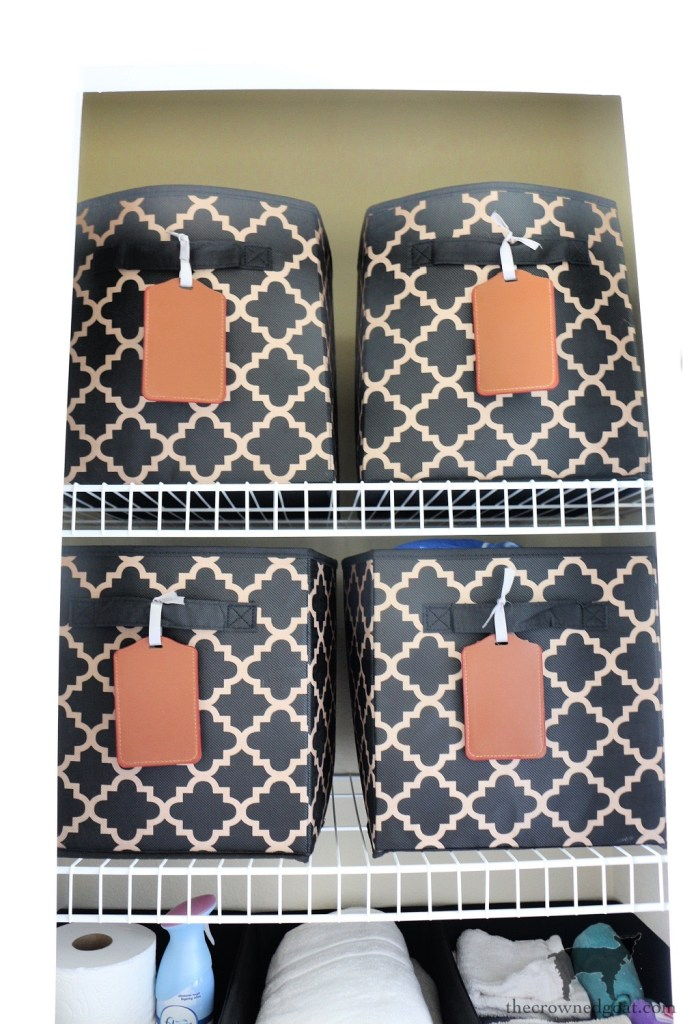 Using Fabric Bins to Organize Sheet Sets-The Crowned Goat