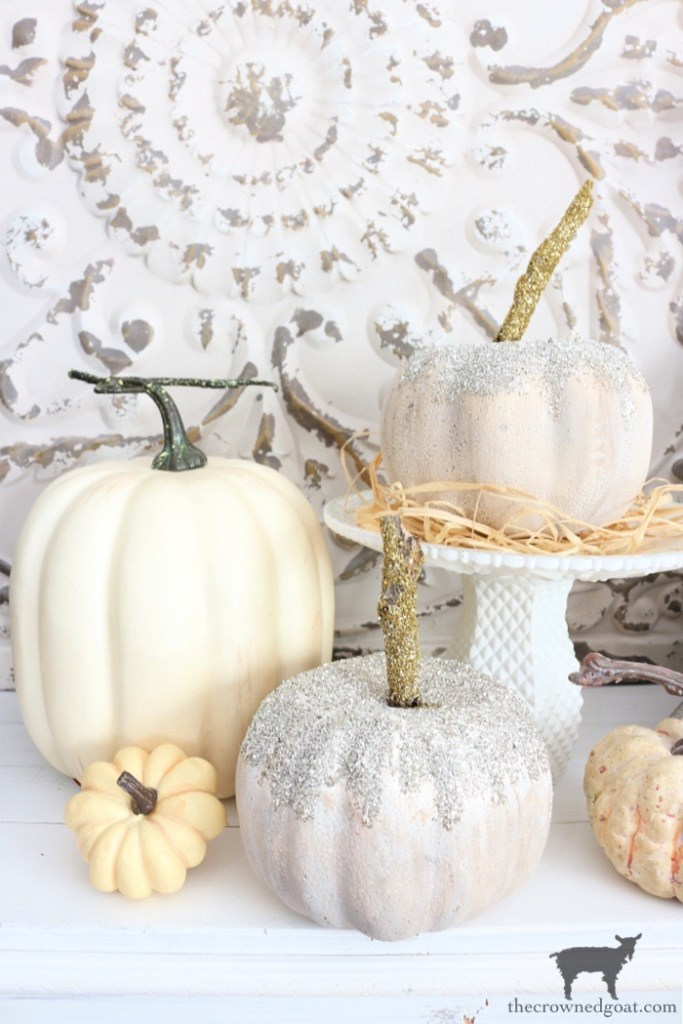 Dollar Store Glass Glitter Pumpkins-The Crowned Goat