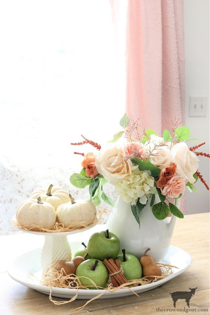 Fall Home Tour-Breakfast Nook Table Vignette-The Crowned Goat