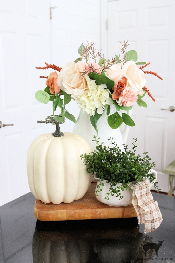 Fall Home Tour-Fall Kitchen Vignette with Flowers and Pumpkins-The Crowned Goat
