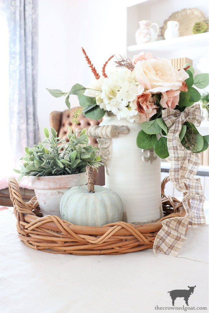 Fall Vignette with DIY Heirloom Pumpkin-The Crowned Goat