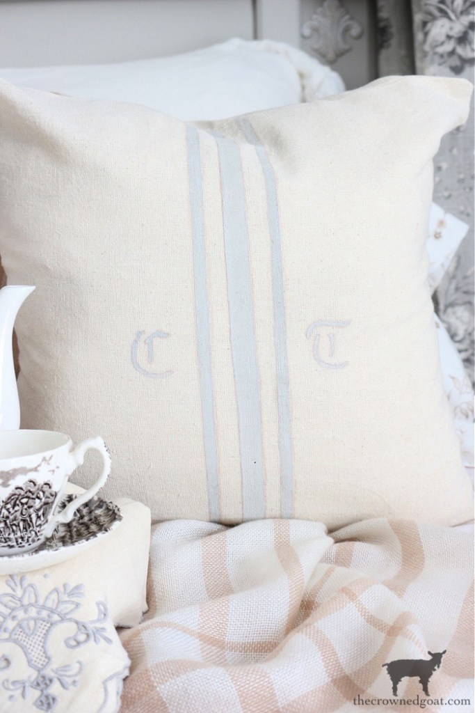 DIY No Sew Monogrammed Grain Sack Pillow Covers-The Crowned Goat