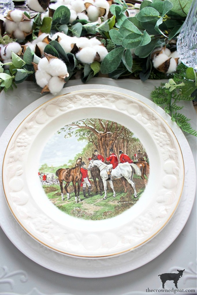 Vintage Equestrian Place Setting-The Crowned Goat