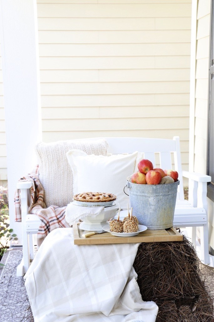 Fall Front Porch with Apples and Pie-The Crowned Goat