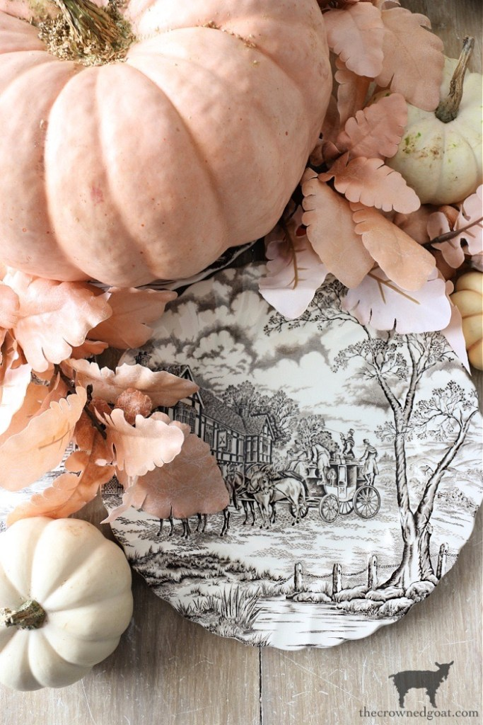Pink and White Pumpkins with Brown and White Transferware Plate-The Crowned Goat