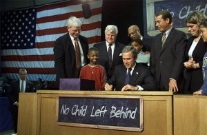 The signing of America's first federal education accountability law - No Child Left Behind.