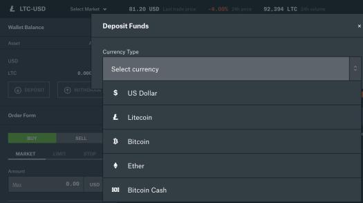 Deposit money into coinbase pro