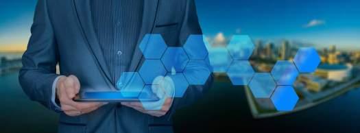 Blockchain symbols and tablet for logistics