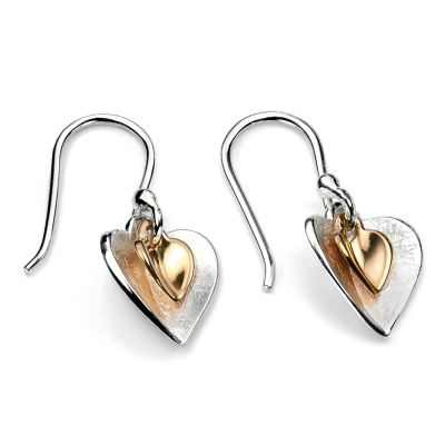 sterling silver and gold plated double heart dangle earrings