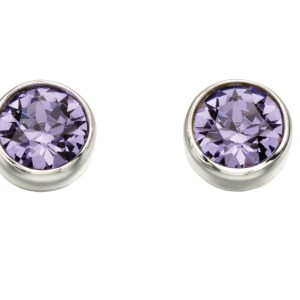 silver swarovski crystal tanzanite purple round stud earrings