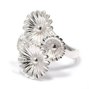 sterling silver large flower cluster ring