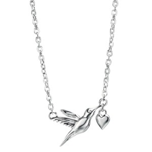 sterling silver hummingbird and heart necklace