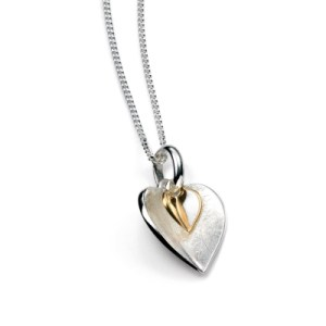 sterling silver and gold plated double heart pendant