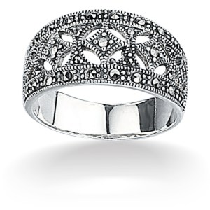 sterling silver marcasite wide band ring