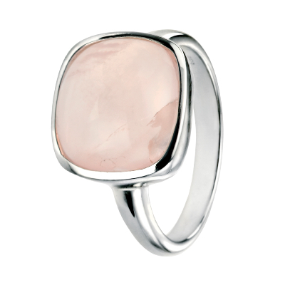 Sterling Silver Square Cabochon Rose Quartz Ring