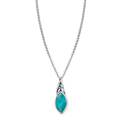 Sterling-Silver-Natural-Turquoise-Leaf-Shaped-Pendant-P3860T
