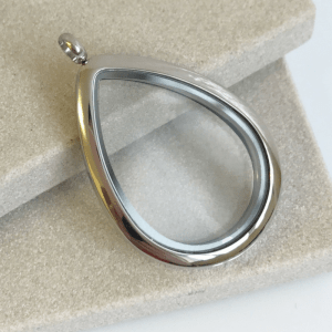 large plain silver teardrop memory locket
