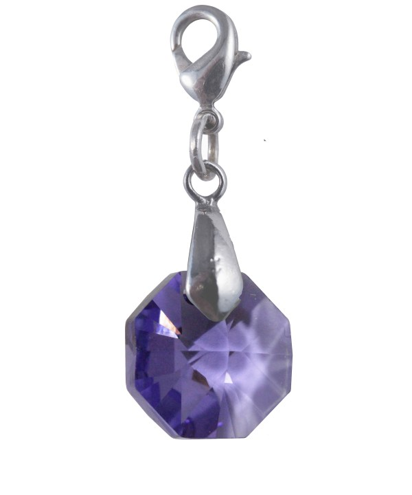 swarovski crystal tanzanite purple octagon charm
