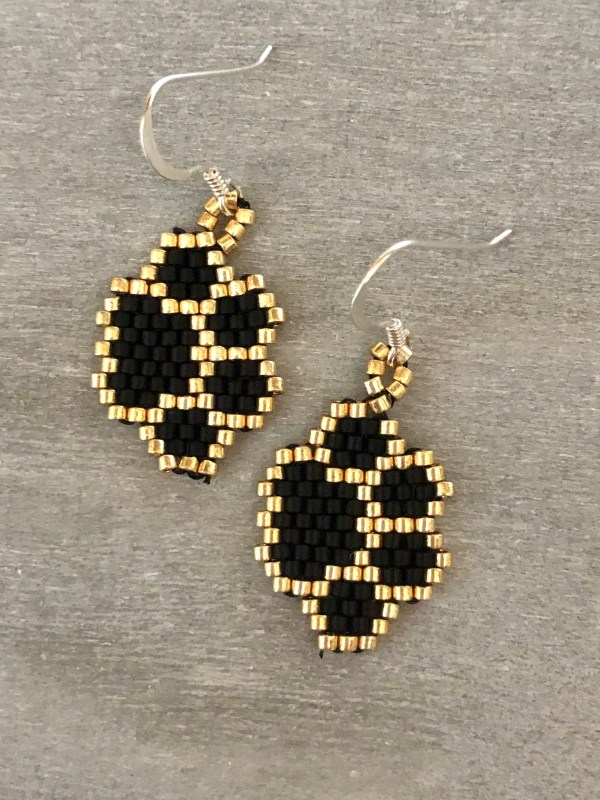 Miyuki Delica Black and Gold Paw Print Silver Earrings
