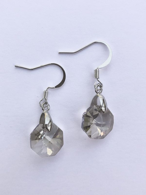 swarovski crystal silver shade octagon drop earrings
