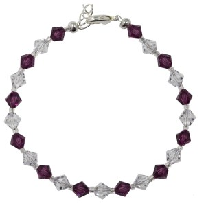 swarovski crystal and amethyst purple sterling silver clasp bracelet