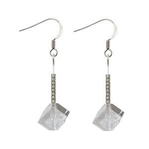 sterling silver swarovski crystal clear offset cube silver earrings