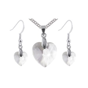 Sterling Silver Swarovski Crystal Clear Heart Earrings and Pendant Set