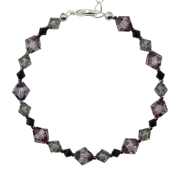 sterling silver swarovski crystal vintage pink black diamond grey and jet black bracelet