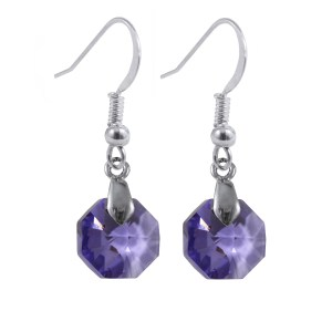 swarovski crystal tanzanite purple octagon sterling silver earrings