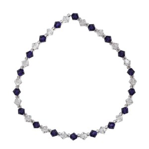 Swarovski crystal clear and purple velvet 4mm bicone bracelet
