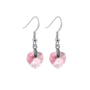 swarovski crystal sterling silver light rose pink heart earrings