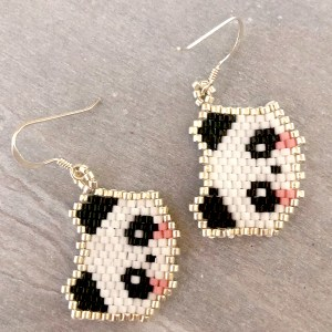 Sterling silver miyuki delica beaded panda face earrings