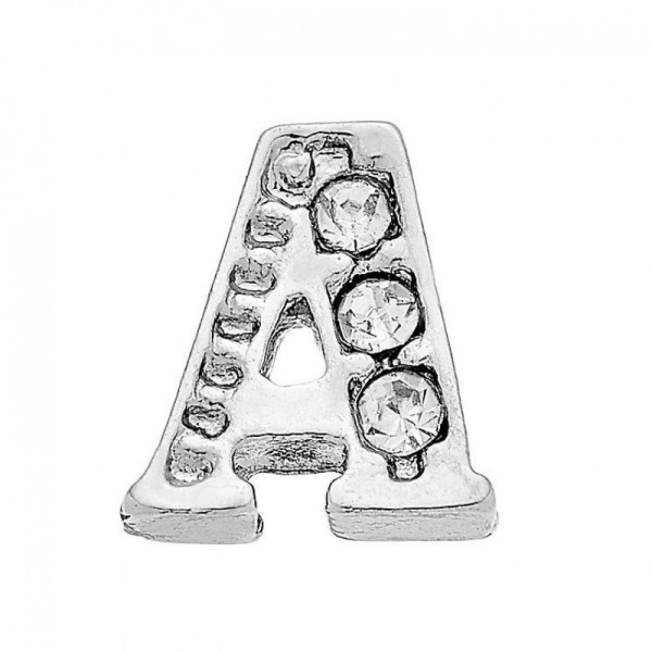 Diamante initial memory locket charm