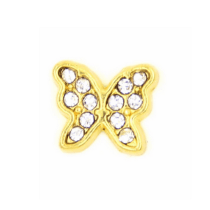 gold diamante butterfly memory locket charm