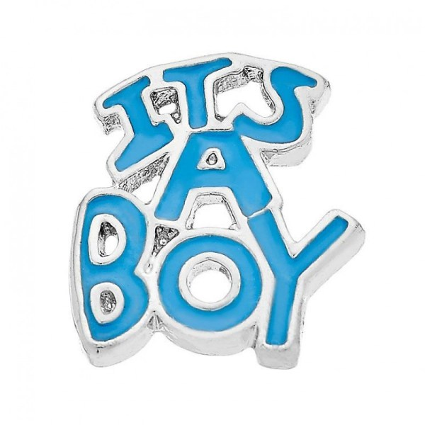 its a boy memory locket charm