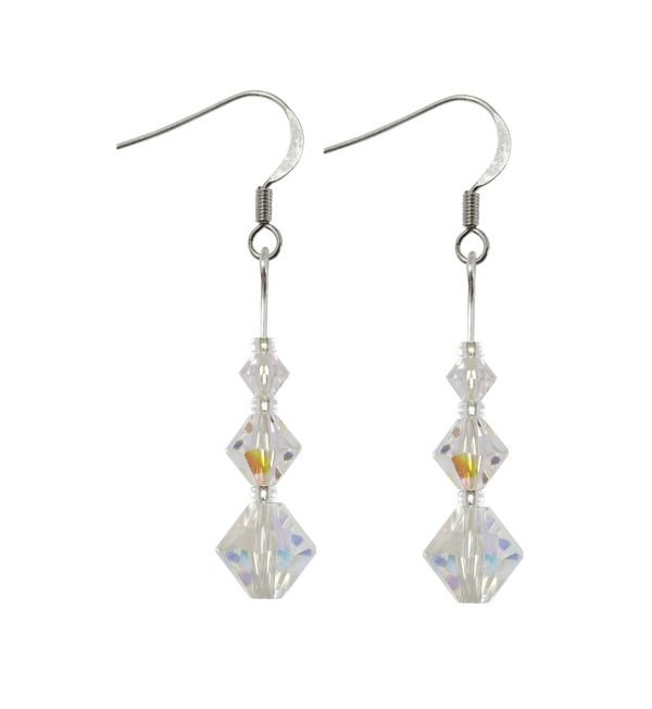 sterling silver swarovski crystal ab graduated size xillion bicone earrings