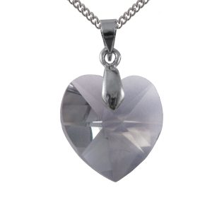 Swarovski crystal sterling silver black diamond heart pendant