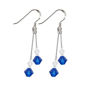 capri blue swarovski crystal double drop silver earrings