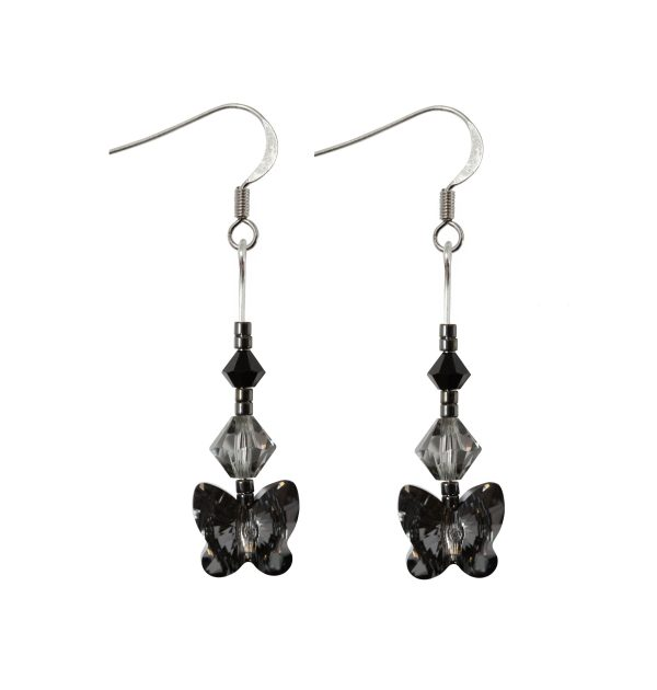 swarovski crystal silver night butterfly black shades earrings