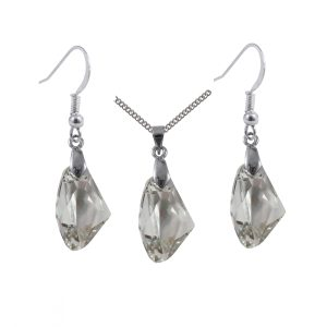 Swarovski Crystal Silver Shade Galactic Pendant and Earrings Set