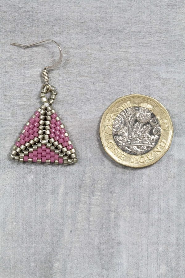 mauve and silver hand beaded miyuki triangle earrings
